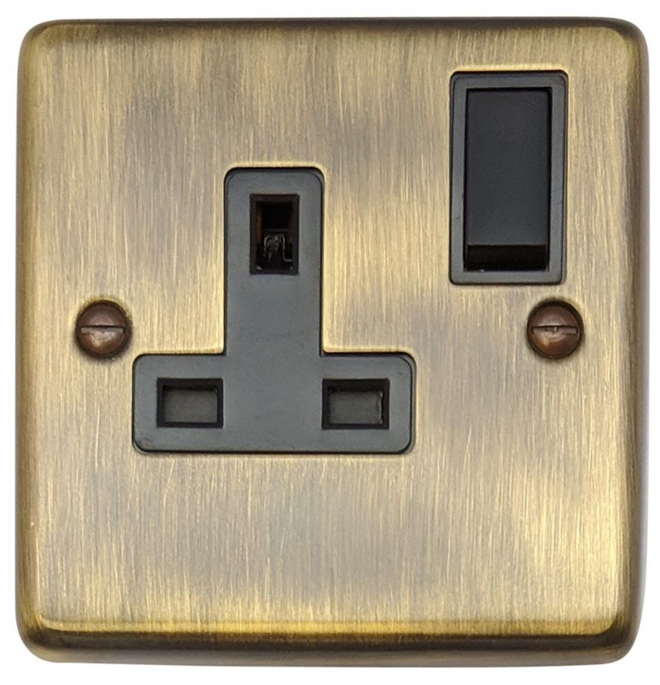 G&H CAB9B Standard Plate Antique Bronze 1 Gang Single 13A Switched Plug Socket